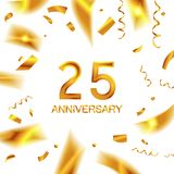 25th gold anniversary celebration. With confetti, ring, and abstract elements, isolated on dark background Stock Image