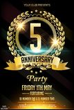 5th anniversary logo with golden ring, confetti and red ribbon isolated on elegant black background. 5th golden anniversary celebration poster or flyer with royalty free illustration