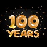 100th golden anniversary logo. Flat Vector illustration Stock Photography