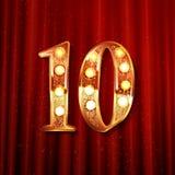 10th guld- årsdaglogo Royaltyfri Fotografi