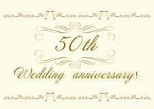 50th härliga bröllopsdaginbjudan Royaltyfri Fotografi