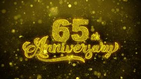 65th Happy Anniversary Golden Text Blinking Particles with Golden Fireworks Display