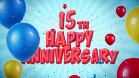 15th Happy Anniversary red greeting and wishes with balloons, confetti looped motion