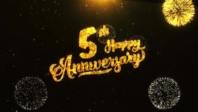 5th Happy Anniversary text greeting, wishes, celebration, invitation background. 5th Happy Anniversary text greeting and wishes card made from glitter particles Vector Illustration