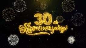 30th Happy Anniversary Written Gold Particles Exploding Fireworks Display