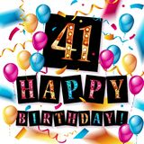 41th Happy Birthday card. Vector illustration Stock Photo