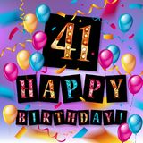 41th Happy Birthday card. Vector illustration Stock Image