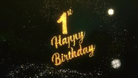 Happy birthday greeting text made from sparklers light dark night 1th happy birthday greeting text made from sparklers light dark night sky with colorfull firework stock m4hsunfo