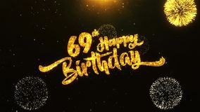 69th Happy Birthday Text Greeting, Wishes, Celebration, invitation Background. 69th Happy Birthday Text Greeting and Wishes card Made from Glitter Particles From stock illustration