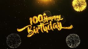 100th Happy Birthday Text Greeting, Wishes, Celebration, invitation Background. 100th Happy Birthday Text Greeting and Wishes card Made from Glitter Particles stock video