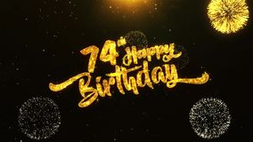 74th Happy Birthday Text Greeting, Wishes, Celebration, invitation Background. 74th Happy Birthday Text Greeting and Wishes card Made from Glitter Particles From vector illustration
