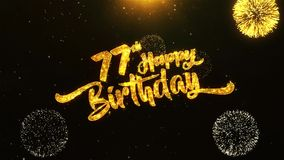 77th Happy Birthday Text Greeting, Wishes, Celebration, invitation Background. 77th Happy Birthday Text Greeting and Wishes card Made from Glitter Particles From vector illustration