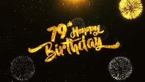 79th Happy Birthday Text Greeting, Wishes, Celebration, invitation Background. 79th Happy Birthday Text Greeting and Wishes card Made from Glitter Particles From stock illustration