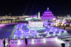 Harbin Ice Festival 2018 fantastic ice and snow buildings, fun, sledging, night, travel china. The 34th Harbin International Ice and Snow Sculpture Festival stock photos