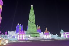 Harbin Ice Festival 2018 - 哈尔滨国际冰雪节 fantastic ice and snow buildings, fun, sledging, night, travel china Stock Photography