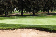 15 th hole flagstick on a putting green in a golf course. Royalty Free Stock Photo
