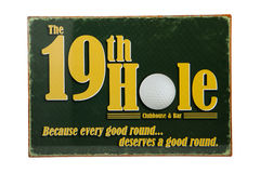 19th Hole. A 19th hole golf sign against a white background royalty free stock photography
