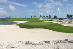10th hole Punta Espada, Capcana Dominican Republic. The beautiful, par 4, 10th hole at the Jack Nicklaus, Punta Espada golf course in Capcana Dominica republic royalty free stock photos