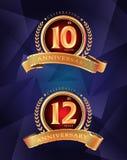 15th i 25th rocznicowej odświętności klasyczny logo na grą Ilustracja Wektor