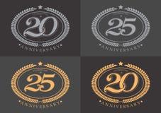 20th i 25th rocznicowej odświętności klasyczny logo na grą Ilustracji
