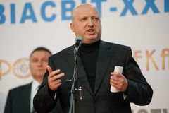13th international exhibition of armaments Arms and Security 2016. October 11, 2016. Kyiv, Ukraine. Secretary of RNBO of Ukraine Oleksandr Turchynov during the Royalty Free Stock Photo