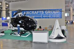 11th international exhibition of helicopter industry HeliRussia 2018. Public exhibition of modern helicopters, business and civil. Place: Crocus Expo, Moscow Stock Images