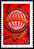 10th International Film Festival, Film Festivals serie, circa 1977. MOSCOW, RUSSIA - JUNE 19, 2019: Postage stamp printed in Soviet Union USSR devoted to 10th stock images