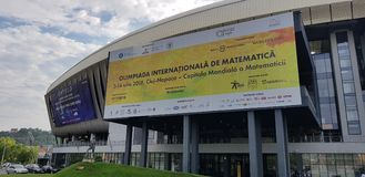 59th International Mathematical Olympiad - Cluj Napoca 2018. Cluj-Napoca, Romania - July 10, 2018: A banner about 59th International Mathematical Olympiad which Stock Image