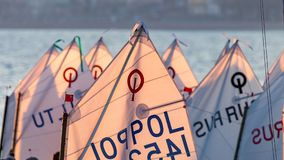 29th INTERNATIONAL PALAMOS OPTIMIST TROPHY 2018, 13TH NATIONS CUP, 15 Feb. 2018 , Town Palamos, Spain.  stock photography