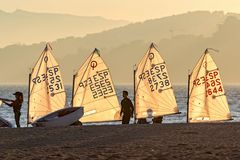 29th INTERNATIONAL PALAMOS OPTIMIST TROPHY 2018, 13TH NATIONS CUP, 15 Feb. 2018 , Town Palamos, Spain.  royalty free stock image