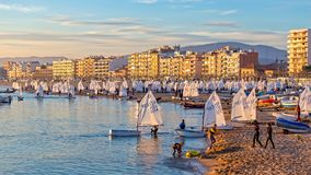 29th INTERNATIONAL PALAMOS OPTIMIST TROPHY 2018, 13TH NATIONS CUP, 15 Feb. 2018 , Town Palamos, Spain.  stock photos