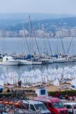 29th INTERNATIONAL PALAMOS OPTIMIST TROPHY 2018, 13TH NATIONS CUP, 16 Feb. 2018 , Town Palamos, Spain.  stock photos