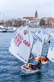 29th INTERNATIONAL PALAMOS OPTIMIST TROPHY 2018, 13TH NATIONS CUP, 16 Feb. 2018 , Town Palamos, Spain.  royalty free stock images