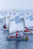 29th INTERNATIONAL PALAMOS OPTIMIST TROPHY 2018, 13TH NATIONS CUP, 16 Feb. 2018 , Town Palamos, Spain.  royalty free stock photography