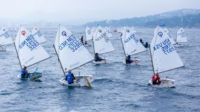 29th INTERNATIONAL PALAMOS OPTIMIST TROPHY 2018, 13TH NATIONS CUP, 16 Feb. 2018 , Town Palamos, Spain Stock Image