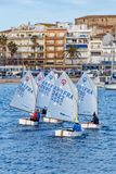 29th INTERNATIONAL PALAMOS OPTIMIST TROPHY 2018, 13TH NATIONS CUP, 15 Feb. 2018 , Town Palamos, Spain Royalty Free Stock Photo