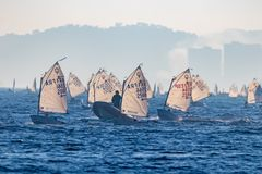 29th INTERNATIONAL PALAMOS OPTIMIST TROPHY 2018, 13TH NATIONS CUP, 15 Feb. 2018 , Town Palamos, Spain.  royalty free stock photos