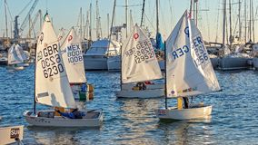 29th INTERNATIONAL PALAMOS OPTIMIST TROPHY 2018, 13TH NATIONS CUP, 15 Feb. 2018 , Town Palamos, Spain.  stock image