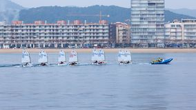 29th INTERNATIONAL PALAMOS OPTIMIST TROPHY 2018, 13TH NATIONS CUP, 16 Feb. 2018 , Town Palamos, Spain.  stock photography