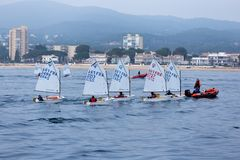 29th INTERNATIONAL PALAMOS OPTIMIST TROPHY 2018, 13TH NATIONS CUP, 16 Feb. 2018 , Town Palamos, Spain.  stock image
