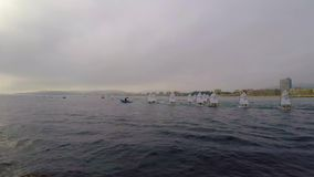 29th International Palamos Optimist Trophy 2018, 13th Nations Cup, 16 Feb. 2018 , Town Palamos, Spain.  stock video