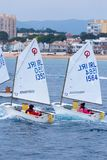 29th INTERNATIONELLA PALAMOS-OPTIMISTTROFÉ 2018, 13TH NATIONKOPP, 16 Februari 2018 stad Palamos, Spanien Arkivbild