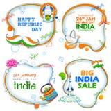 26th Januari lycklig republikdag av det Indien försäljningsbanret med den tricolor indiska flaggan vektor illustrationer