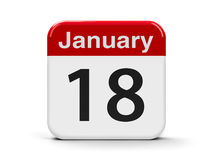 18th January. Calendar web button - The Eighteenth of January, three-dimensional rendering, 3D illustration Stock Photo