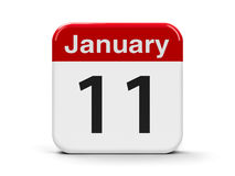 11th January. Calendar web button - The Eleventh of January - International Thank You Day, three-dimensional rendering, 3D illustration Royalty Free Stock Images