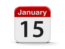 15th January. Calendar web button - The Fifteenth of January, three-dimensional rendering, 3D illustration Stock Images