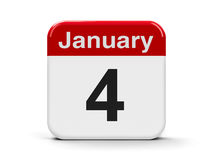 4th January. Calendar web button - The Fourth of January, three-dimensional rendering, 3D illustration Royalty Free Stock Photography