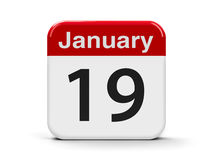 19th January. Calendar web button - The Nineteenth of January, three-dimensional rendering, 3D illustration Royalty Free Stock Photography