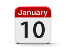 10th January. Calendar web button - The Tenth of January, three-dimensional rendering, 3D illustration Stock Photography