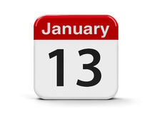 13th January. Calendar web button - The Thirteenth of January, three-dimensional rendering, 3D illustration Royalty Free Stock Images